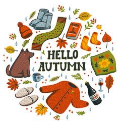 Hello autumn circle composition autumn essentials vector