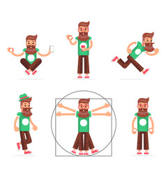 Hipster geek stand run walk meditate new vector
