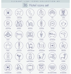 Hotel outline icon set Elegant thin line vector