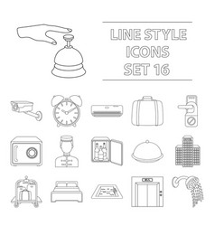 hotel set icons in outline style big collection vector image