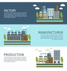 Industrial Buildings Horizontal Banners Set vector