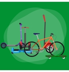 isolated electric scooter with power battery one vector image