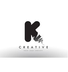 K brushed letter logo black brush letters design vector