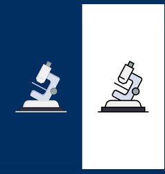Lab microscope science zoom icons flat and line vector