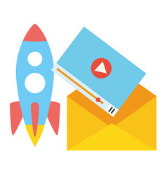 Launching rocket envelope video vector