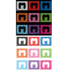 Letter m formed with the help of mediators vector