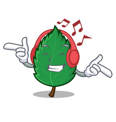 Listening music mint leaves mascot cartoon vector