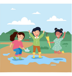 little cute children are playing outside under vector image
