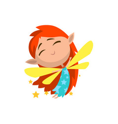 little winged redhead elf girl cute fairytale vector image