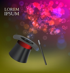 Magician Top Hat and stick with magic particles vector image