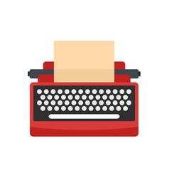 Mid century typewriter icon flat style vector