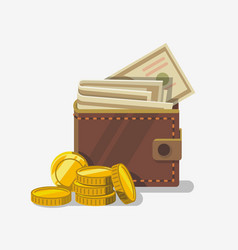money wallet with coin vector image