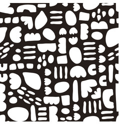 monochrome hand drawn shapes seamless vector image