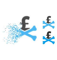 Moving dot halftone mortal pound debt icon vector