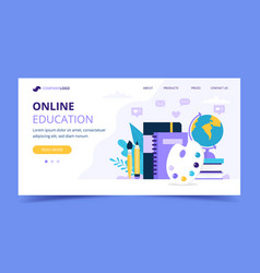 online education landing page with different vector image