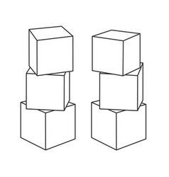 outline block building towers for coloring book vector image