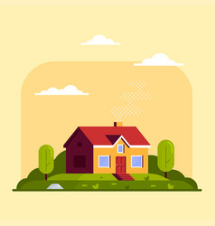 private family cottage house flat style vector image