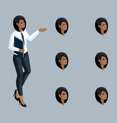 Quality isometry business lady african american vector
