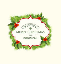 realistic christmas coniferous wreath template vector image