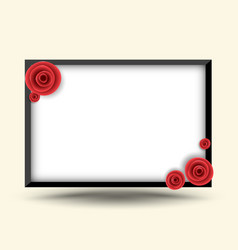 Rectangle frame with rose for photo frame vector
