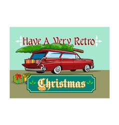 Retro Christmas Tree Station Wagon vector
