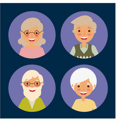Round avatars of older women and men people vector