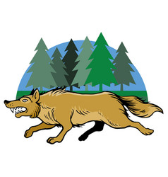 Running wolf and pine trees vector