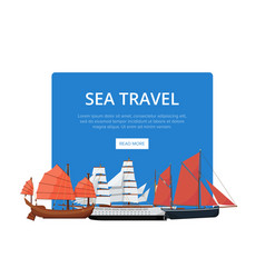 Sea travel poster with group of sailboats vector