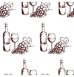Seamless pattern Wine bottle glass and grapes vector image