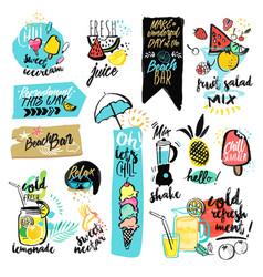 set hand drawn watercolor signs summer vector image
