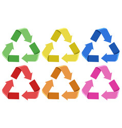 Set of colorful recycle icons vector