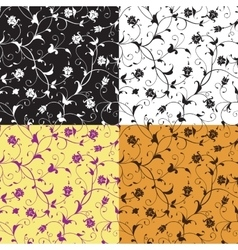 Set of floral seamless patterns vector image