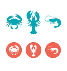 Set seafood flat icons vector