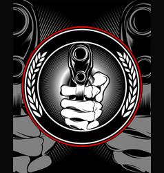 skull hand holding a gun vector image