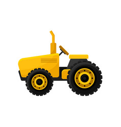 small bright yellow tractor professional vector image