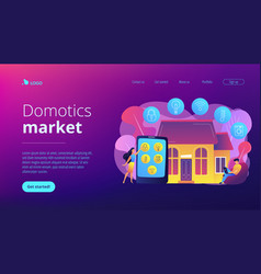 Smart home concept landing page vector
