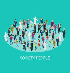 Society isometric background with people vector