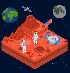 Space discovery concept 3d isometric view vector