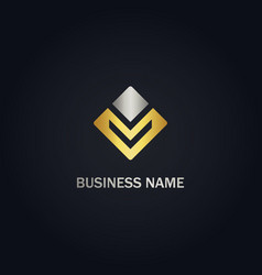 Square shape line abstract company gold logo vector