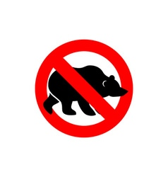 Stop bear Banned wild animal Animal silhouette vector image