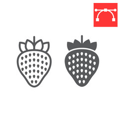 strawberry line and glyph icon food and keto diet vector image