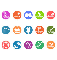 Swimming pool round button icons set vector