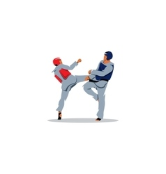 Taekwondo sign Sports fight between two fighters vector image