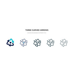 Three curved arrows icon in different style two vector