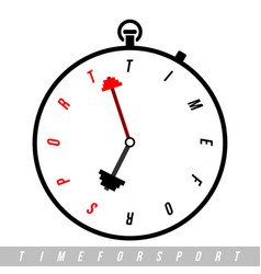 time for sport stopwatch with clock hands vector image