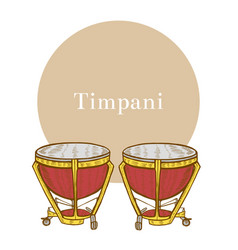 Timpani in hand-drawn style vector