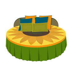 unusual round bedbed with cushions in the form of vector image