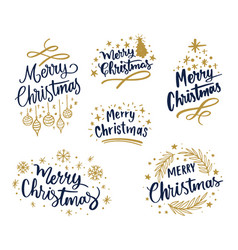 variety merry christmas emblems vector image