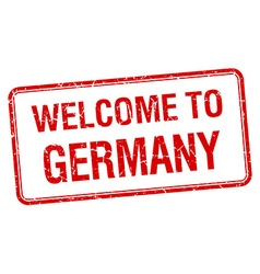 welcome to Germany red grunge square stamp vector image