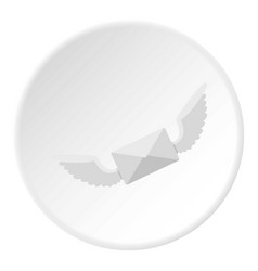 White envelope with two wings icon circle vector